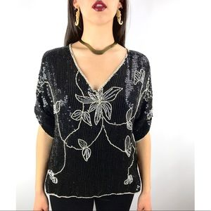 Vintage black fully sequined with pearls blouse
